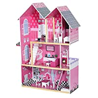 PANANA-Store Kids 3 Storey Wooden Dollhouse, L80.5 x W32 x 126CM Play Doll House with 13PCS Furnitures (Pink)