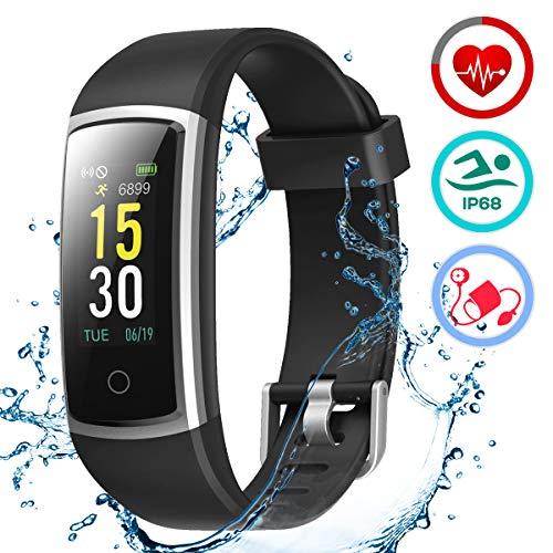 LATEC Fitness Armband mit Pulsmesser, IP68 Wasserdicht Fitness Trackers Farbbildschirm Aktivitätstracker Fitness Uhr Smartwatch Pulsuhren Blutdrucküberwachung Schlafmonitor Schrittzähler Anruf SNS SMS (Store Google Download)