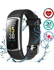 LATEC Orologio Fitness Tracker Smartwatch Android iOS Cardiofrequenzimetro Monitor per la Pressione del Sangue Impermeabile IP68 Sportivo Contapassi Calorie Bici per iPhone Xiaomi Samsung Huawei