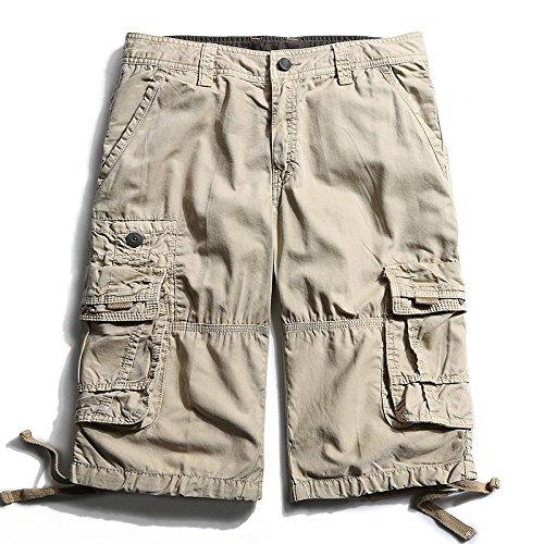 WDDGPZDK Strand Shorts/Die Kleidung Man Cargo Shorts Baumwolle Halber Baulänge Kurze Multi Pocket Shorts Männlichen Solide Farben Lässige Shorts Mann, Khaki, 36