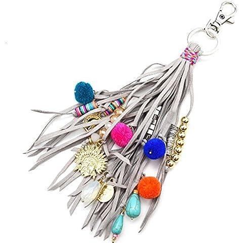 pt1103d–Llavero/joya de bolso–Multi flecos fieltro gris con charms cabeza indio, perlas y pompones bola–Mode Fantasía