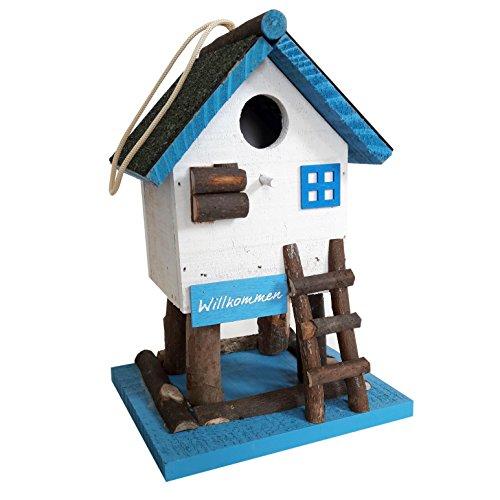 Nistkasten für Wildvögel mit dezenter LED-Beleuchtung (Solar) - Dekoratives Vogelhaus für den Garten (Blau/Weiß)