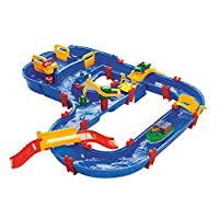 Aquaplay 8700001528 Megabridge Waterway Colourful Water Play Table with Working Canal System, Lifting Crane, Bridges, Boat, and Car Toy, Suitable for Kids Ages 3+ Years
