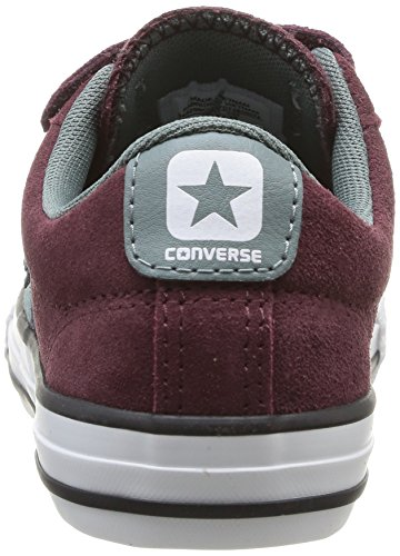 Converse Star Player Junior 3V Suede Ox, Baskets mode mixte enfant Rouge (18 Bordeaux)