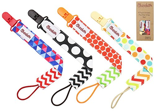 Dummy Clip 4 Pack by Akeekah Unique 2 Sided Unisex Design Pacifier Holder for Boy and Girl Binky Soother Leash with Plastic Clip Washable Test