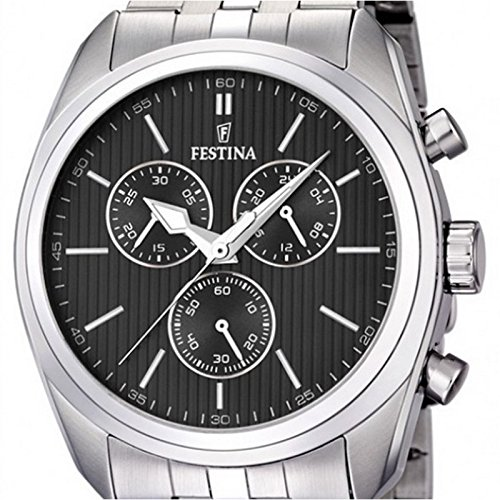 Festina Men's Quartz Watch with Black Dial Chronograph Display and Silver Stainless Steel Bracelet F16778/4