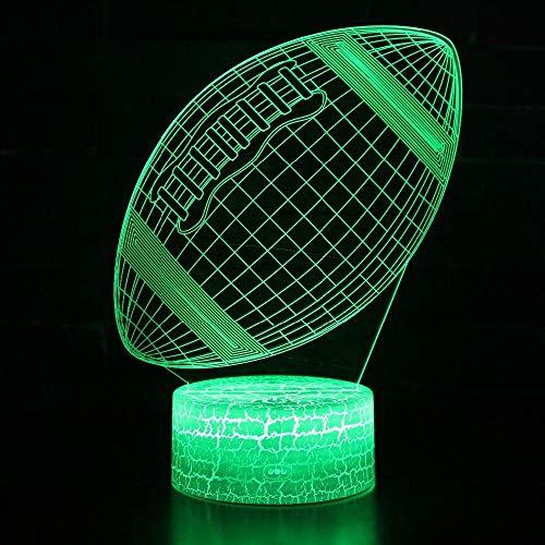 LQCN American Football Rugby 3D Visuelles Nachtlicht LED 7 Farben Wechselbare Schreibtischlampe USB Illusion Tischlampe, schwarzer Sockel