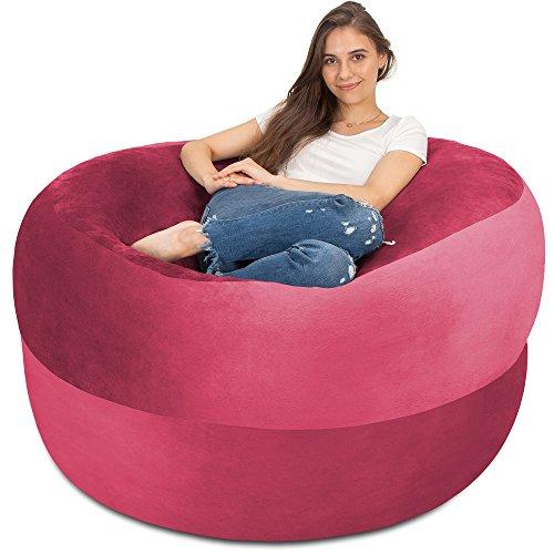 Charlie & Finn XXL Sitzsack in Pink- Gemütlicher Velour Bezug mit Weicher Memory Schaumstoff Füllung – Riesen Bett, Großes Sofa, Gaming...