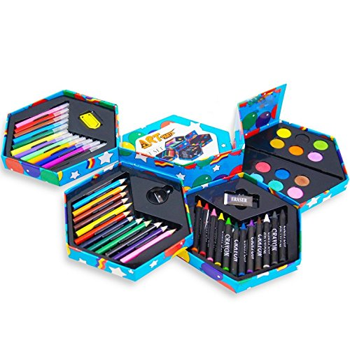 childrens-52-pcs-craft-art-artists-set-hexagonal-box-crayons-paints-pens-pencils