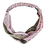 Qinlee Retro Blumenmuster Stirnbänder Nationaler Stil Haarbänder Yoga Kopftuch Mädchen Haar Accessoires Dame Freizeit Frisuren Stirnband (Pink)