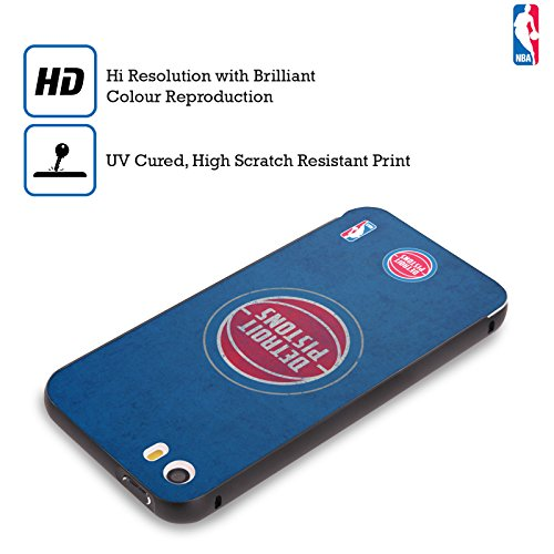 Ufficiale NBA Gradiente Mezzotono Detroit Pistons Nero Cover Contorno con Bumper in Alluminio per Apple iPhone 6 Plus / 6s Plus Rovinato