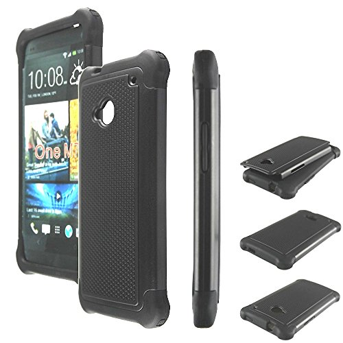 Bracevor Triple Layer Defender hard shell Back case cover for HTC One M7 Dual sim (Black)  available at amazon for Rs.299