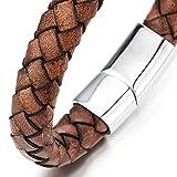 Vintage Braune Geflochtenes Leder-Armband für Herren für Damen Leder Armreif Schweißband mit Edelstahl Magnetverschluss - 3