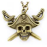 T&J Jewelry Vintage Cool Gold-tone Pirate Pendant Necklace