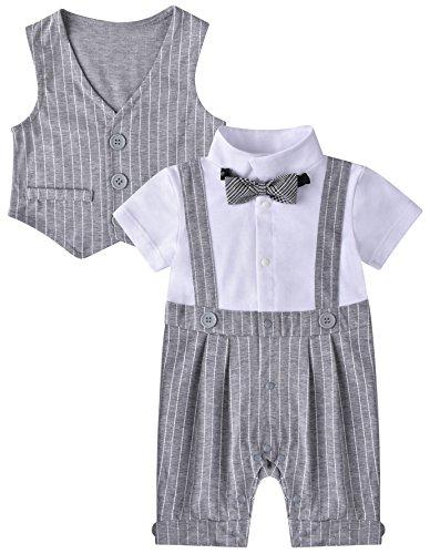 ZOEREA 2pcs Kinder Baby Kleinkind Jungen Kleider Coat + Spielanzug-Bodysuit Set Kleidung Gentleman Baumwolle mit kurzen Ärmeln Sommer Kleidung des Babys Taufe Hochzeit Weihnachten (0-24M)