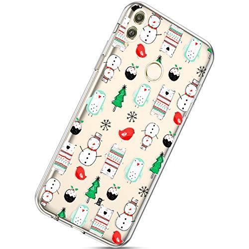 Handytasche Huawei Honor 8X Max Crystal Clear Ultra Dünn Durchsichtige Silikon Schutzhülle Weiche TPU Schutzhülle Silikon Dünn Case Kirstall Transparent Handyhüllen,Schneemann Weihnachtsbaum