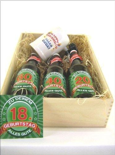 Bier Präsentkiste gef. mit 3 Fl. Bier und 1 Bierkrug a' 0,5 ltr Flasche zum 18. Geburtstag