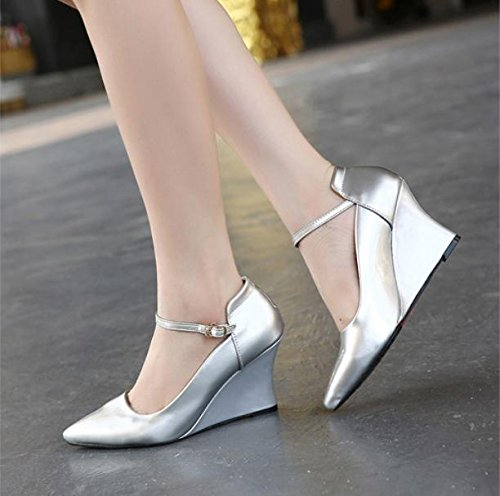 GS~LY Frauen Keile Schnalle spitzen Pumps mehrfarbige Damenschuhe Schuhe Red