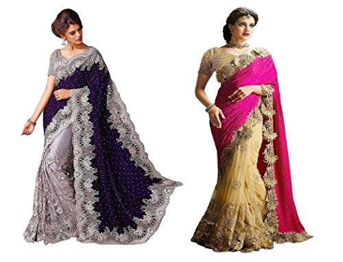 Fashion Dream Women Velvet+Net|Lycra Saree(Free Size__Gpo+Pink_Lycra1)
