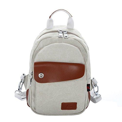 Zaini Tela Vintage - Landove Zaino Casual Tasche Borse a Zinetto Donna Uomo per Viaggio / Spiaggia / Scuola / Sportiva beige