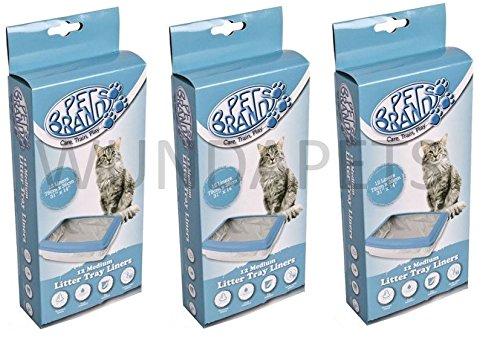 3x marcas de mascotas gato basura bandeja Liners Mediano, 12unidades (36unidades) Fit Van Ness CL003