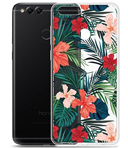 Huawei Mate SE Fall, Huawei Honor 7x Schutzhülle mit Blumen baisrke Slim stoßfest Transparent Floral Muster Weiche Biegsame TPU Back Cover für Huawei Honor 7x/Huawei Mate SE, Palm Tree Leaves -