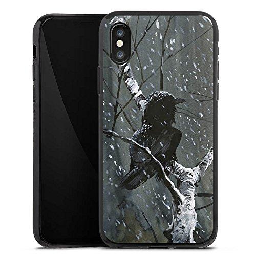 Apple iPhone X Silikon Hülle Case Schutzhülle Rabe Wald Vogel Silikon Case schwarz