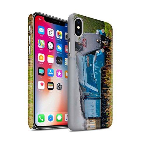 STUFF4 Matte Snap-On Hülle / Case für Apple iPhone X/10 / Scotsman/Bahnsteig Muster / Dampflokomotive Kollektion Dominion NZ/Blau