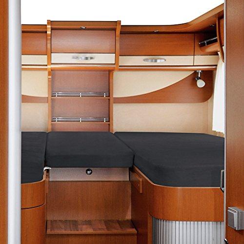 Erwin Müller Spannbettlaken 3er-Set f. Wohnmobil/Wohnwagen Heckbett Single-Jersey Single-Jersey anthrazit Größe 70x190 cm - 85x210 cm (2X) + 35x130-50x145