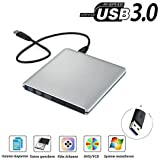 USB3.0 DVD-RW DVD/CD Brenner Laufwerk Aluminium QinYun Superdrive für alle Notebook/Desktop z.B Lenovo,Acer,Asus,PC unter Windows und Mac OS für Apple Macbook, Macbook Pro, MacbookAir, iMac – Silber