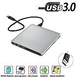Lecteur Graveur DVD CD Externe USB3.0 Ultra Slim Portable, QinYun Graveur Externe Drive CD DVD +/-RW Writer/Rewriter/Player,Compatible Windows 98SE/ME/2000/XP/Vista/7/8/10/Mac os10.0 Pour Macbook Pro/