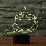 3D Veilleuse 7 changement de couleur tasse de café en grains modèle 3d nuit...