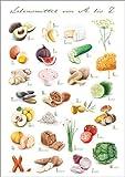 Poster 50 x 70 cm: Lebensmittel ABC von Nadine Conrad - Hochwertiger Kunstdruck, Kunstposter
