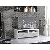 FINLANDEK Meuble TV HELPPO contemporain blanc et gris - L 95 cm