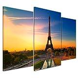 Bilderdepot24 Kunstdruck - Paris II - Bild auf Leinwand - 100x60 cm 3 teilig - Leinwandbilder - Bilder als Leinwanddruck - Wandbild Städte & Kulturen - Europa - Frankreich - Eiffelturm am Abend