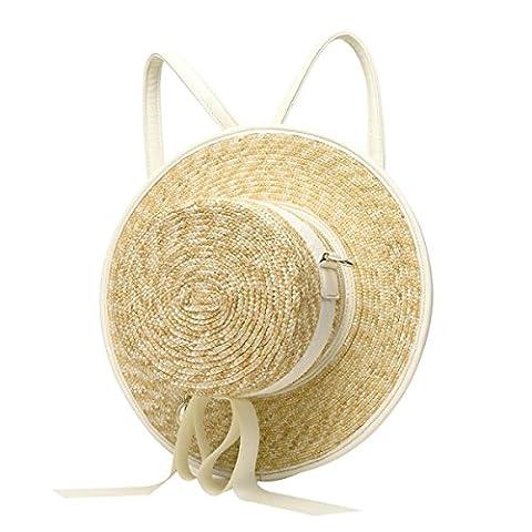Sac à Dos Casual Hat Multifonctions Sac à Bandoulière Mignon De Femmes,White-AllCode