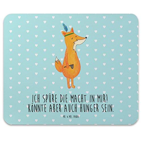 Preisvergleich Produktbild Mr. & Mrs. Panda Mauspad Druck Fuchs Indianer - 100% handmade in Norddeutschland - Spruch lustig, Computer, Gummi Natur Kautschuk, Deko Küche, Büro, Mousepad, Fuchs, Hunger, Arbeit, Mauspad, Druck, Arbeitszimmer
