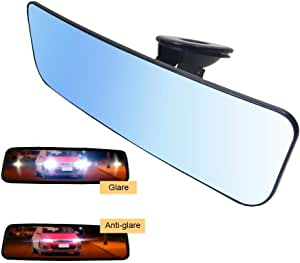 Chuanfeng Auto Rückspiegel Universal Innenspiegel Saugnapf Spiegel Für Auto 30 5 X 8 Cm Blau Auto