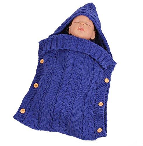 ke Wrap Swaddle Decke✽ZEZKT-Baby✽Crochet Kostüm Outfits Schlafsack Decke Gap Outfit Schlafsack für Babys mit Kapuze (Blau) (Swaddle Outfit)