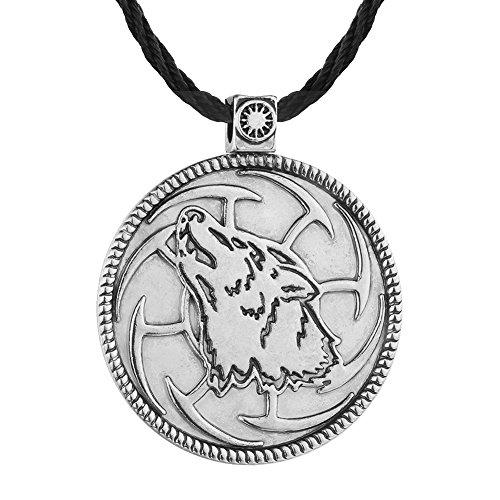 Fengteng Collar eslavo Redondo de los Hombres de con el Lobo eslavo Colgante Lobo Joyería Retro Animal de la Cabeza del Lobo (Plateado)
