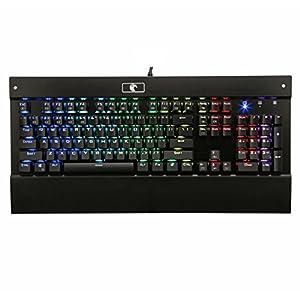 Mechanical Eagle Z-77 RGB LED Hintergrundbeleuchtung, Chroma Dimmbare mechanische Gaming-Tastatur, 104 Tasten, kein Konflikt, mit blauen Schaltern, Handgelenkauflage