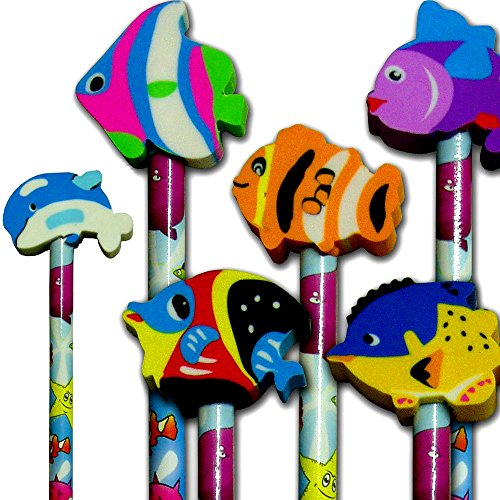 German Trendseller 8 x Meerestiere Bleistift + Radierer ┃ Fische┃ Unterwasser Tiere ┃ Seestern ┃ Kinder lieben diese kleinen Fisch Bleistifte + Radierer !