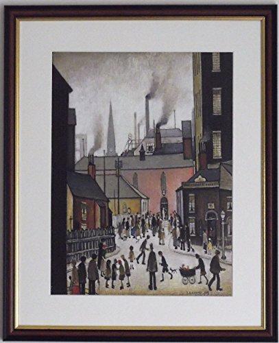 L S Lowry Spezialität Druck/Bild-Nach der Hochzeit-Auf einen Line Struktur Medium, Walnut Finish Frame With Mount And Small Image, 14 x 11inch -