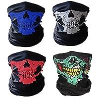 Swesy Máscara para ciclismo, transpirable, con dibujo de calavera, cubre media cara, Unisex, pack of 4