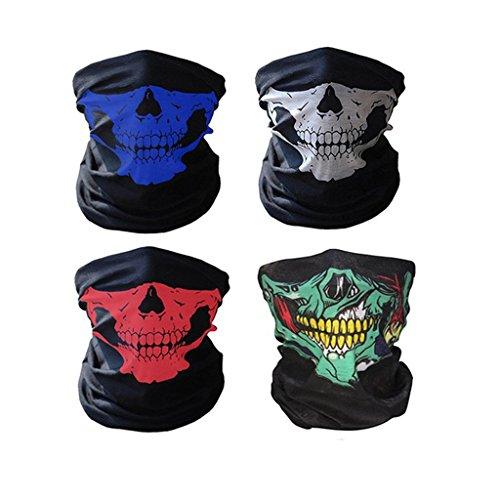 Máscara para ciclismo Swesy, transpirable, con dibujo de calavera, cubre media cara, Unisex, pack of 4
