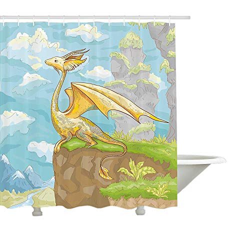 rhang von Fantastic Winged Animal Cliff Hand gezeichnete Landschaft für Kinder Kinderzimmer Dekor, Stoff Badezimmer Dekor Set mit Haken, Multicolor ()