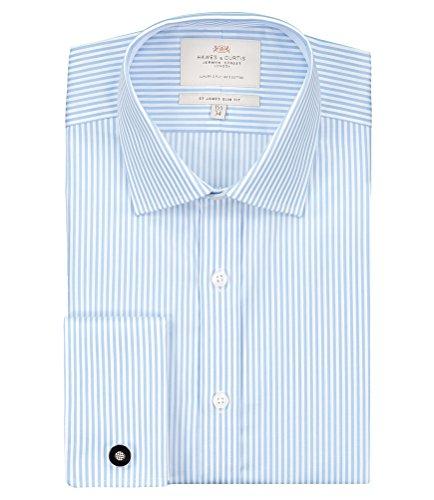 Hawes & Curtis Herren Slim Fit Hemd, Formell Gr. Kragenweite: 45, Blau - Bleu - Blue (Blue/White) (White Collar Manschette-hemd)