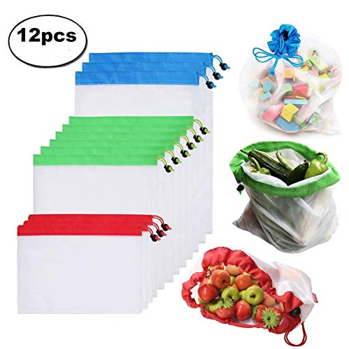 Estefanlos Obstbeutel und Gemüsebeutel 12 Set Wiederverwendbare Gemüsenetze Polyester Einkaufstasche 3 Größen Umweltfreundlich Waschbar Robust Leicht Säcke für Einkaufen, Aufbewahrung (MEHRWEG)