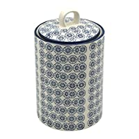 Boîte à thé/café/sucre en porcelaine ornée de motifs - imprimé fleur bleue