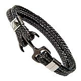 SEMPAH Herren Anker-Armband aus hochwertigem Kunst-Leder mit Edelstahl Anker Schwarz/Silber 21cm Länge inkl. Geschenkbox (21)
